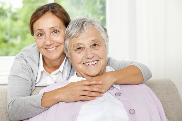 Older woman with her carer